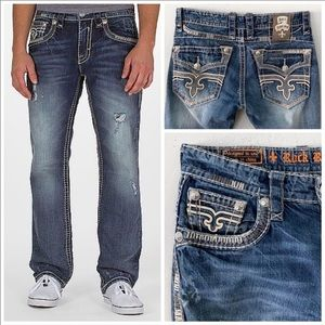 ROCK REVIVAL JOSEPH STRAIGHT LEG JEANS 32  / 30